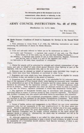 Conditions of Award for Battle Honours, 28 January 1956
