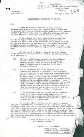 Letter from RAF Ringway about parachutists' conditions of service