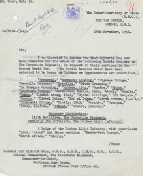 Letter regarding confirmation of Battle Honours and Colours, 29 November 1956.