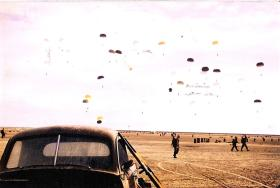 Containers being parachuted, Suez, 1956.