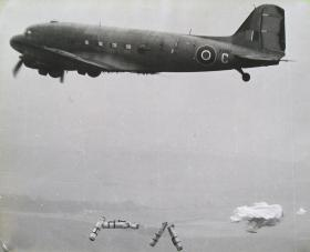 CLEs dropping from a Dakota, c1946.