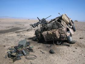 Damaged Pathfinder WMIK, Op Herrick IV, Sangin, Afghanistan, 2006.