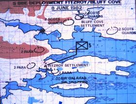 Map of Fitzroy and Bluff Cove, Falklands,  8 June 1982.