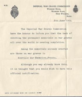 Imperial War Graves Commission's letter to the widow of Sgt PJM Modderman, 1954.