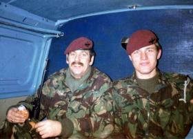 Cpl George 'Geordie' Guthrie & Pte 'Bob' Hilton, 2 PARA, Int Sect, in the rear of a covert van, South Armagh, 1984.