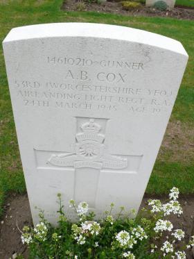 Headstone of Gnr Albert Cox, Reichswald Forest War Cemetery, 2010