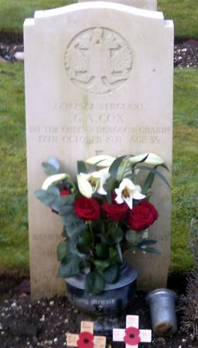 The grave of Sgt Graham Cox, Tidworth Military Cemetery, Hampshire.
