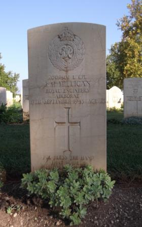 The grave of L/Cpl 'Jimmy' Milligan, Bari War Cemetery, date unknown.