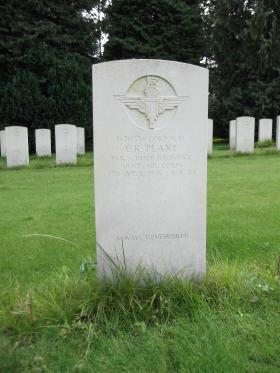 Headstone of Cpl CR Plant, Becklingen War Cemetery, August 2011.