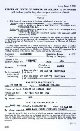 Army Form B2090 Cpl D Hardman