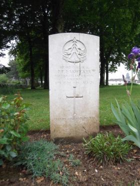 Headstone of Cpl P Earwicker, Ranville War Cemetery, May 2013.