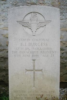 Headstone of Cpl Burgess, Herouvillette Cemetery, October 2010.