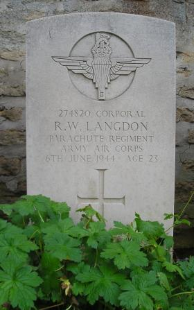 Headstone of Cpl Langdon, Herouvillette Cemetery, October 2010.