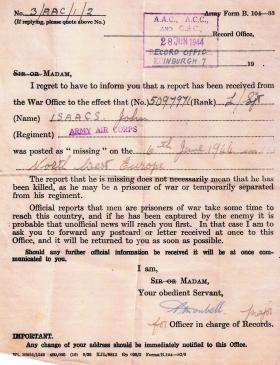 War Office notification to the wife of CQSM Isaacs confirming he was Missing In Action, 6 June 1944.