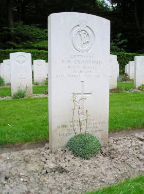 Headstone for Lt FW Crawford, Reichswald Forest War Cemetery, 2011.