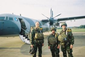 Members of 4 PARA waiting to emplane for Arnhem commemorative jump with Dutch airborne forces, 2006.