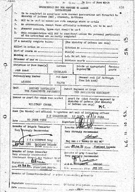 Citation for the award of the Military Cross to Major John Crosland, Falklands, 1982