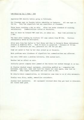 Account of 3 PARA's actions at Falklands by CSM Mills