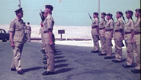 Lt Gen Harrington inspecting 1 Para Guard during a visit to Bahrain, 1964