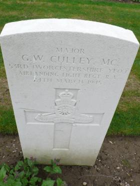 Headstone for Major George Culley MC, Reichswald Cemetery, 2010.
