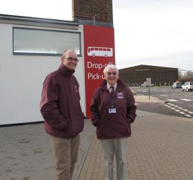 The museums curator, Jon Baker, and volunteer, Peter Wildblood, waiting for a group visit, Duxford, 2011