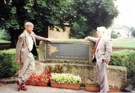 Leslie Plummer at the memorial at Oosterbeek Church, 1996.