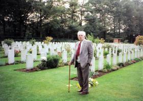 Leslie Plummer at Oosterbeek cemetery, 1996.