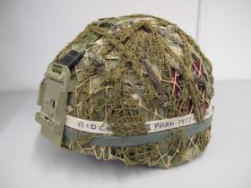 General Service Mk 7 Combat Helmet, with scrim, worn by L/Cpl Chris Willmott, Op Herrick XIII, Afghanistan, 2011.