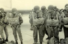 Members of F Bty, 7 PARA RHA, prepare for a jump from a Hastings, Cyprus c1966.