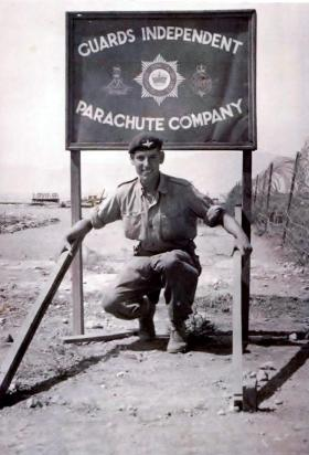 Gdsm Anderson at the No 1 (Guards) Independent Parachute Company camp, Cyprus, 1956.
