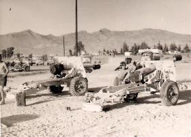 25 Pounders of 33 Para Field Regiment at the Gun Park, Kernia Camp Cyprus, 1956