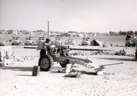 A 25 Pounder of 33 Para Field Regiment at the Gun Park, Kernia Camp Cyprus, 1956