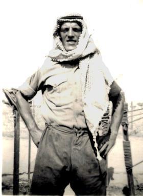 Corporal Tony Lowe wearing Arabian headgear in Cyprus circa 1956.