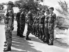 Visit by General Wilson, 11 Platoon, D Coy, 2 PARA, Belize Airport, 1983.