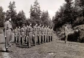 Members of 591 (Antrim) Parachute Squadron RE on parade, Norway c1945.