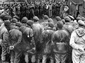 5th Parachute Brigade listen to Field Marshal Montgomery at HQ near Osnabruck, 1945.