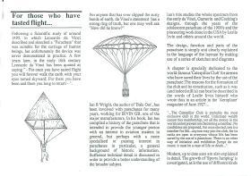 Article about Leonardo Da Vinci's parachute.
