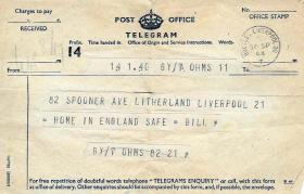 Telegram from Pte 'Bill' Roberts to his wife, telling her he is safe in England after Arnhem, 30 September 1944.
