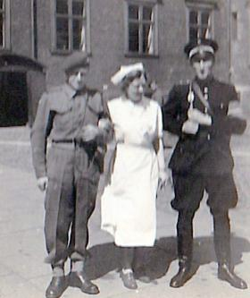 CSM Dugdale with a nurse and a Danish soldier, probably Copenhagen, Denmark 1945.