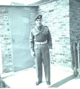 Cpl James Mathewson in garden, Napier Road, Glenrothes, circa 1962