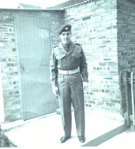 Cpl James Mathewson in garden, Napier Road, Glenrothes, circa 1962