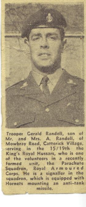 Newspaper cutting about Tpr Gerald Randell, c.late 1960s