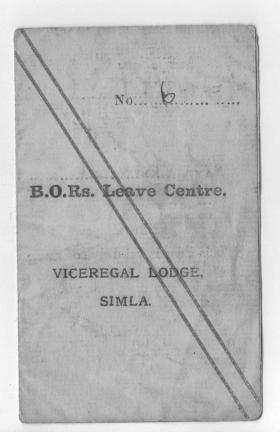 Sidney Round's leave card Shimla