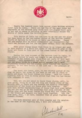 Field Marshal Auchinleck's letter to British troops leaving India after independance, 1947