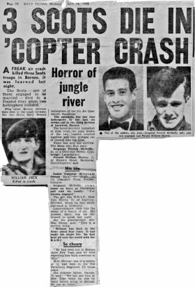 Newspaper report from the Daily Record on the fatal helicopter crash in Borneo, April 1965.
