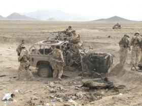 Damaged Pathfinder WMIK, Nowzad, Afghanistan, Op Herrick IV, 2006.