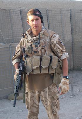 Pte Daniel Gamble in FOB Inkerman, Helmand, 2008