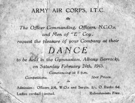 Dance Ticket for Army Air Corps Infantry Training Centre, Isle of Wight 1945