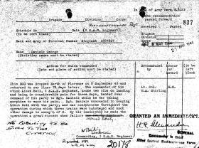 Sgt Daniel's MM citation for Op Speedwell, dated 1944.
