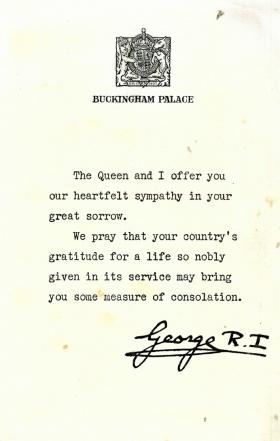 Letter from King George VI to the wife of Pte A V Dann, c1944.
